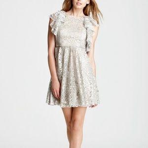 BCBG | Cynthia Silver Metallic Lace Ruffle Dress